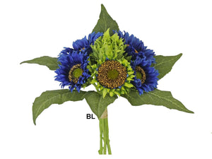 "BLUE Quality Sunflowers Bundle Artificial Silk Flowers 15"" Bouquet 6-58052BL"