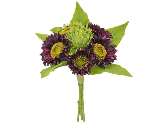 EGGPLANT Quality Sunflowers Bundle Artificial Silk Flowers 15