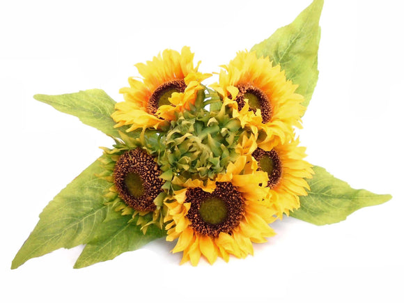 YELLOW Quality Sunflowers Bundle Artificial Silk Flowers 15