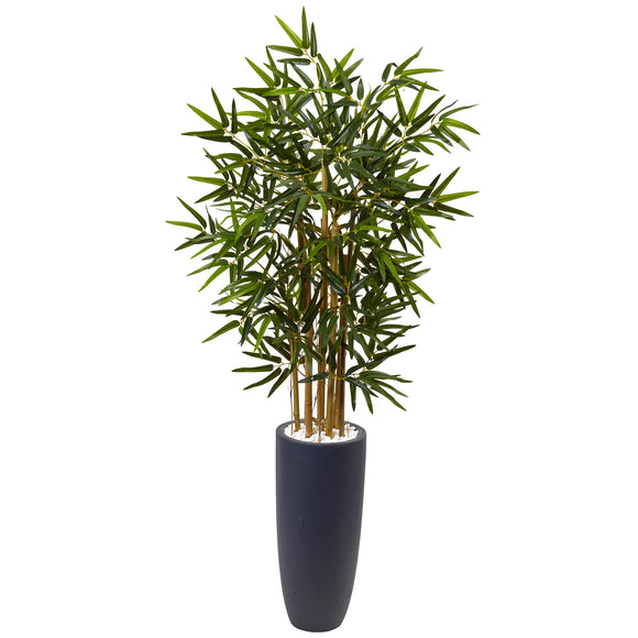 4' Bamboo Tree in Gray Cylinder Planter - Phoenix Silk Flower Marketplace