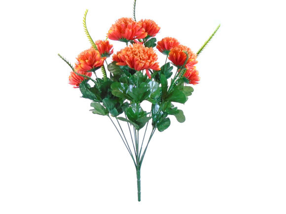 Mum Bush 10 Artificial Silk Flowers 18