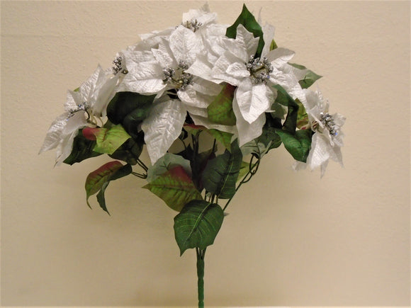 Christmas Poinsettia Bush 7 Artificial Silk Flowers 23