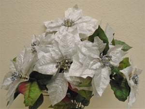 "Christmas Poinsettia Bush 7 Artificial Silk Flowers 23"" Bouquet 8801 - Phoenix Silk Flower Marketplace"