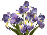"Iris Bush Satin 8 Artificial Flowers 22"" Bouquet 6109"