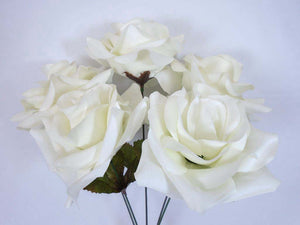 "2 CREAM Bushes Open Rose Artificial Silk Flowers 14"" Bouquet 5-1171CR - Phoenix Silk Flower Marketplace"