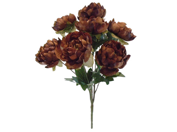 DARK BROWN Jumbo Peony Bush Artificial Silk Flower 21