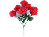 "2 Bushes RED Open Rose Artificial Silk Flowers 15"" Bouquet 7-646"