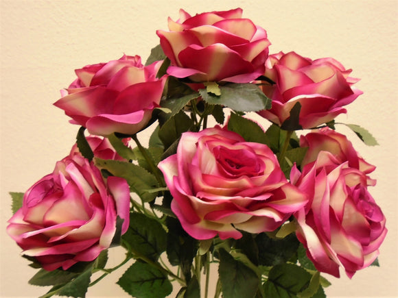 Open Rose Bush Artificial Silk Flowers 17