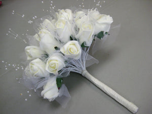 "Rose Buds with Pearls 12"" Bouquet Artificial Foam Flower Bush 695 - Phoenix Silk Flower Marketplace"
