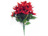 "RED Velvet Christmas Poinsettia Bush Artificial Flowers 24"" Bouquet 24-701 RD"