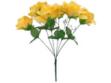 2 Bushes Open Rose 6 Artificial Silk Flowers Bouquet 7203 - Phoenix Silk Flower Marketplace