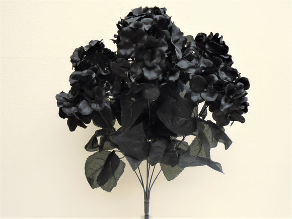 BLACK Hydrangea Bush 7 Artificial Silk Flowers 20
