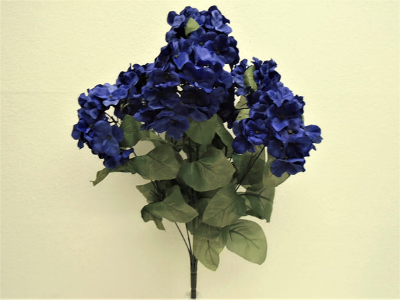 BLUE Hydrangea Bush 7 Artificial Silk Flowers 20