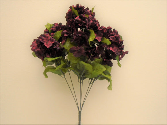 BURGUNDY Hydrangea Bush 7 Artificial Silk Flowers 20