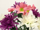 "Mix Dahlia Mum Bush Artificial Silk Flower 17"" Bouquet 9-7437"