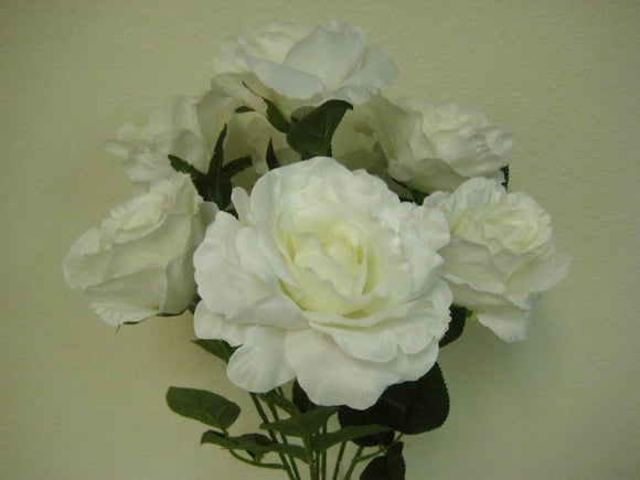 Open Rose Bush Deluxe 7 Artificial Silk Flowers 21