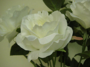 "Open Rose Bush Deluxe Artificial Silk Flowers 21"" Bouquet 7-772 - Phoenix Silk Flower Marketplace"