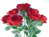 "Open Rose Bush Deluxe 7 Artificial Silk Flowers 21"" Bouquet 772 - Phoenix Silk Flower Marketplace"