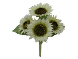 CREAM Sunflowers Bush Artificial Silk Flowers 11