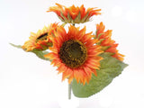 "ORANGE Sunflowers Bush Artificial Silk Flowers 11"" Bouquet 4-80096 OR - Phoenix Silk Flower Marketplace"