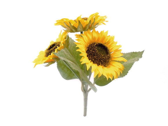 YELLOW Sunflowers Bush Artificial Silk Flowers 11