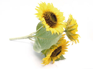 "YELLOW Sunflowers Bush Artificial Silk Flowers 11"" Bouquet 4-80096 YL - Phoenix Silk Flower Marketplace"