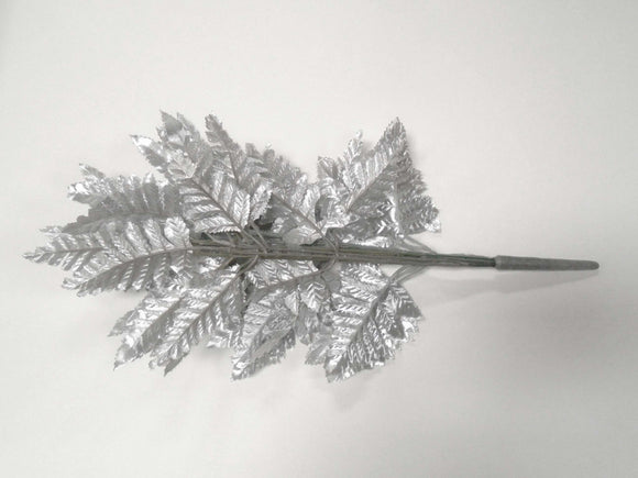 24 Sprays SILVER Leather Fern Artificial Silk Leaves 18