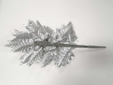 "24 Sprays SILVER Leather Fern Artificial Silk Leaves 18"" Greenery 800SL - Phoenix Silk Flower Marketplace"