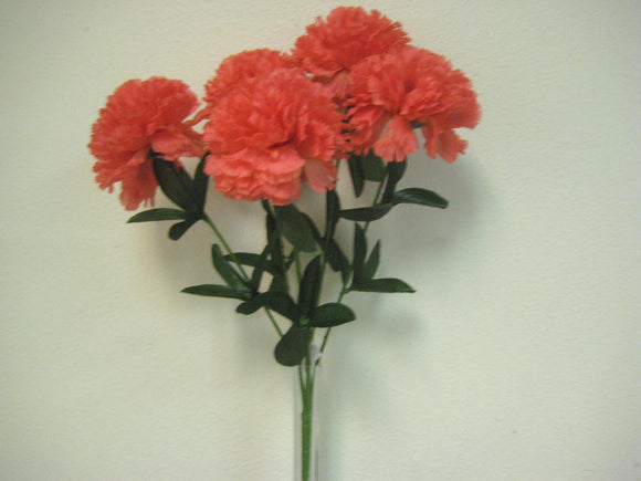 CORAL Carnation Bush 5 Artificial Silk Flowers 20