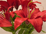 "Tiger Lily Bush Satin 11 Artificial Flowers 19"" Bouquet 8225 - Phoenix Silk Flower Marketplace"