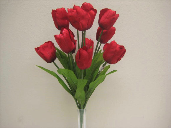 Tulip Bush Satin 14 Artificial Flowers 18