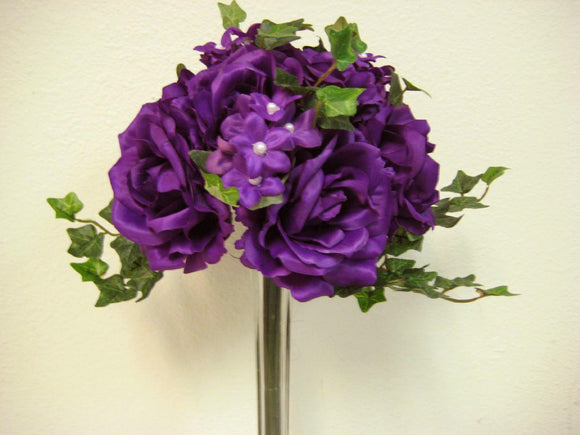 PURPLE Rose Stephanotis Bridal Bouquet Wedding Artificial Silk Flowers 91723 PU - Phoenix Silk Flower Marketplace
