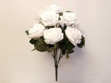 "Open Rose Buds Bush Artificial Silk Flowers 17"" Bouquet 10-1936"