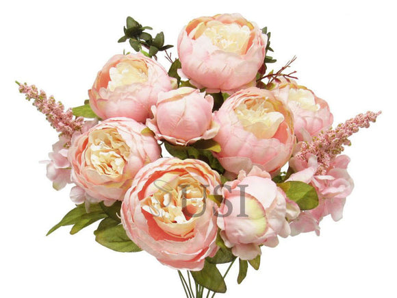 Peony With Fillers Bush Artificial Silk Flowers 20