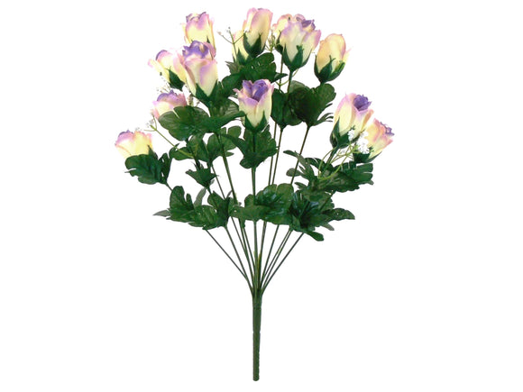 CREAM LAVENDER Tip Rose Bud Bush Artificial Silk Flowers 19