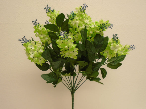 GREEN Lilac Bush 14 Artificial Silk Flowers 20