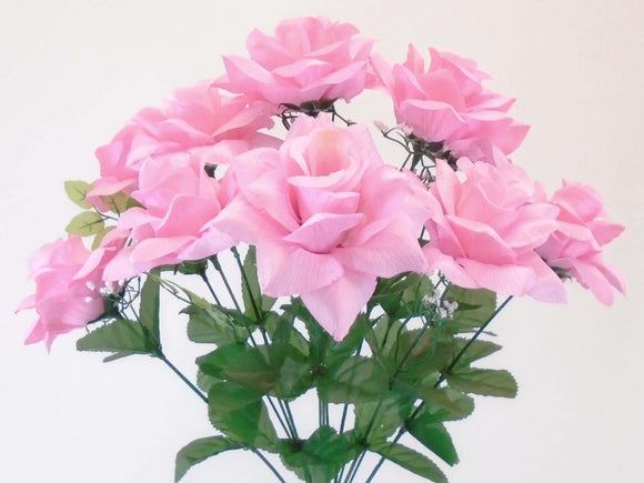 Open Roses Bush Artificial Silk Flowers 20