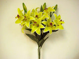 "YELLOW Tiger Lily Bush Artificial Silk Flowers 24"" Bouquet 12-612 YL - Phoenix Silk Flower Marketplace"