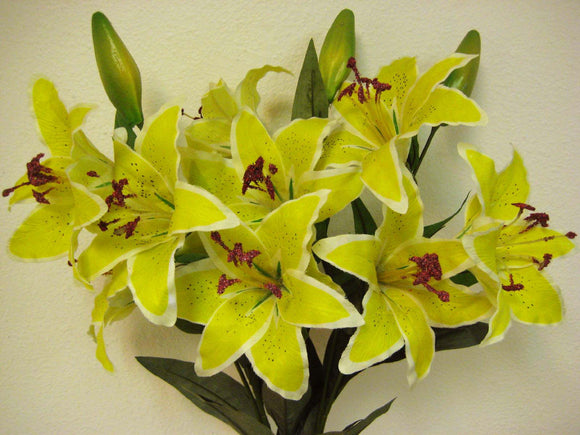 YELLOW Tiger Lily Bush Artificial Silk Flowers 24