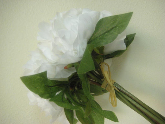Hand Tied Peonies Bridal Wedding Bouquet Artificial Silk Flowers - Phoenix Silk Flower Marketplace