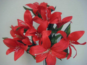 2 Bushes Tiger Lily Artificial Silk Flowers Bouquet 10-4069 - Phoenix Silk Flower Marketplace