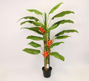 GREEN 6.5 ft Canna Silk Tree with Flowers and in Pot 4680GR - Phoenix Silk Flower Marketplace