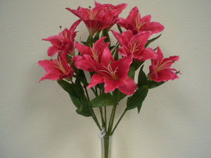"Dark BEAUTY Tiger Lily Bush Artificial Silk Flowers 18"" Bouquet 9-687RD - Phoenix Silk Flower Marketplace"
