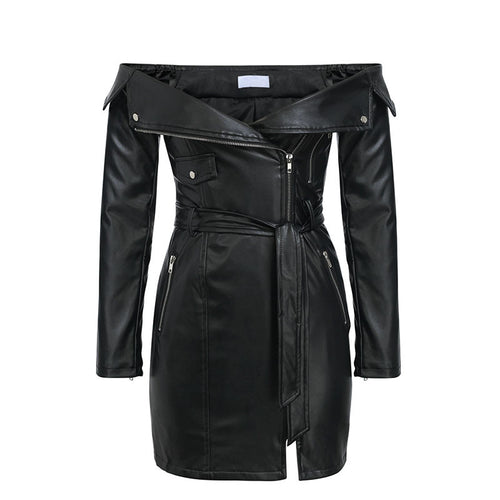 I AM tenacious faux leather dress