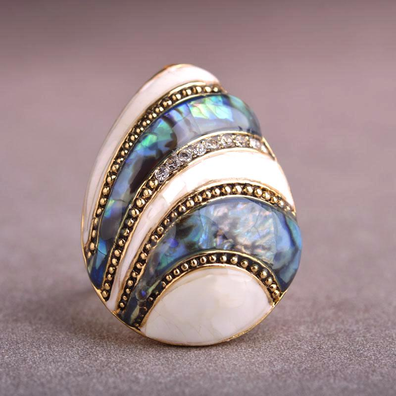Gold Abalone Blue Shell Ring – Chic Boutiqe Affordable