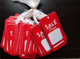 Sale Price Tags, Red/White - Strung or Unstrung