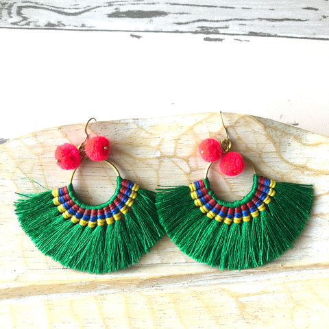Wax Cord Tassel Fan Earrings