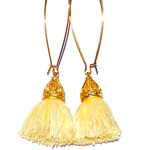 Gold Waikki Tassel Earrings - Vanilla Creme