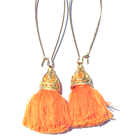 Gold Waikki Tassel Earrings - Papaya