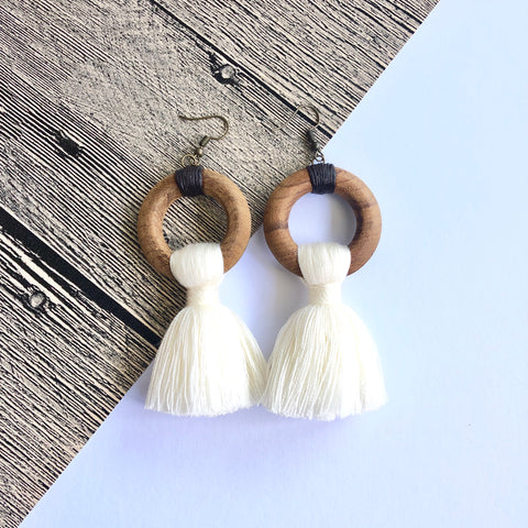 Wooden Tassel Earrings